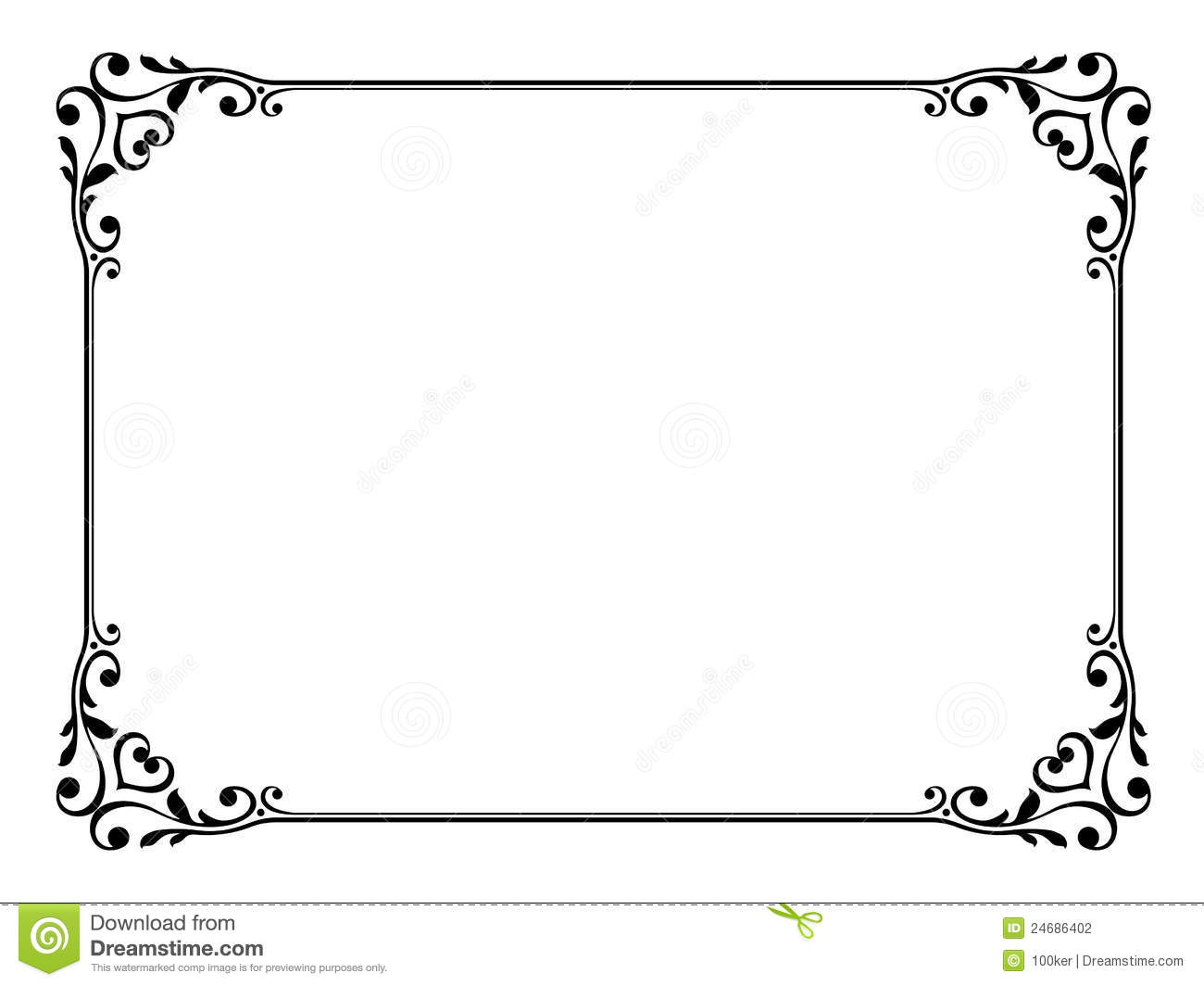 Calligraphy ornamental decorative frame stock photography