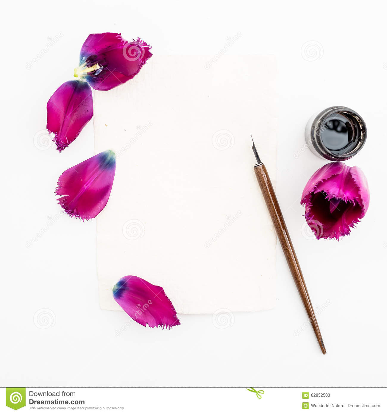 Calligraphy paper card with flowers ink pen isolated on