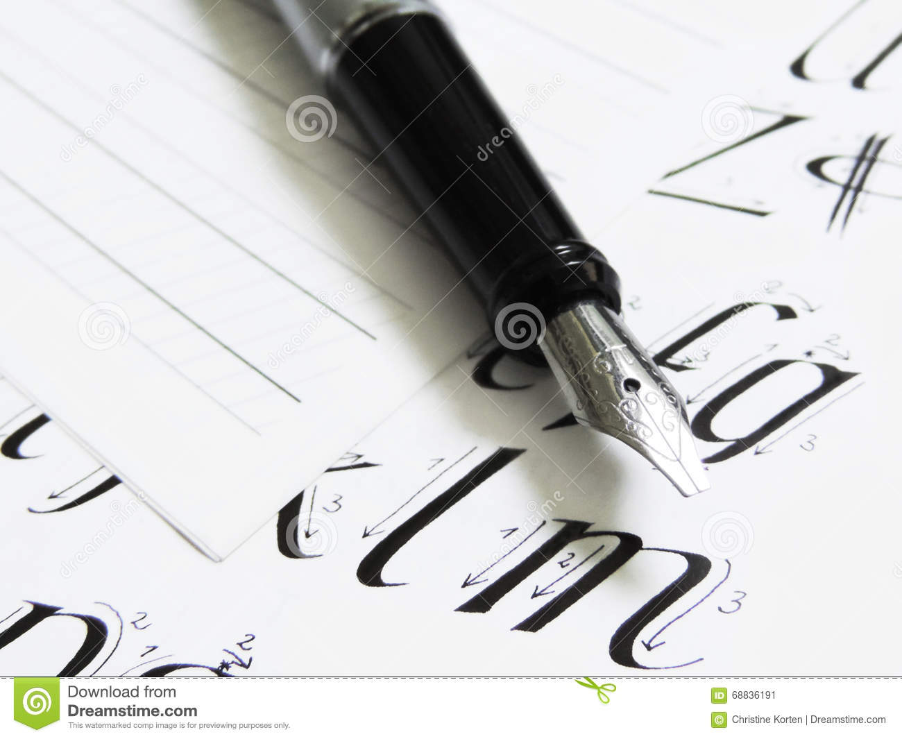 Calligraphy pen, letters
