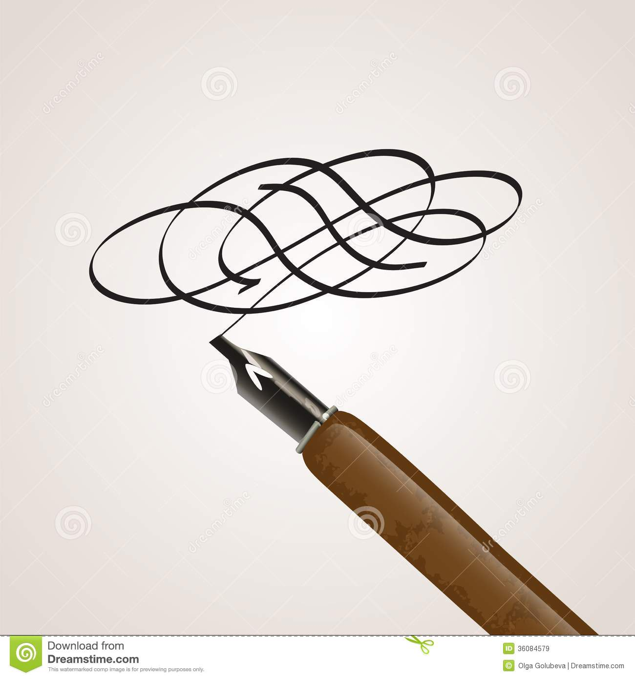 Calligraphy Pen Made Of A Twirl Royalty Free Stock Images