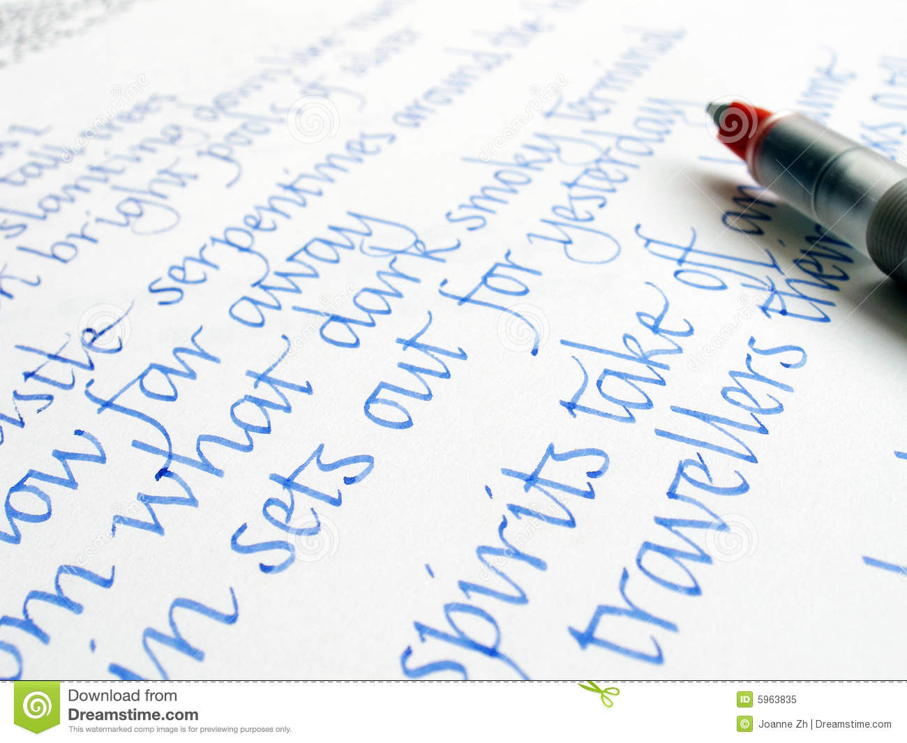 Calligraphy pen and writing on paper stock image image Handwriting calligraphy
