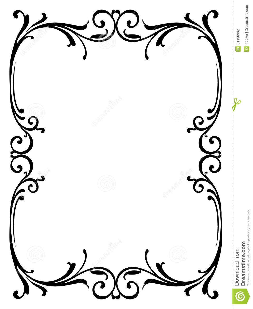 Free Online Architecture Design Calligraphy Penmanship Curly Baroque Frame Black Stock