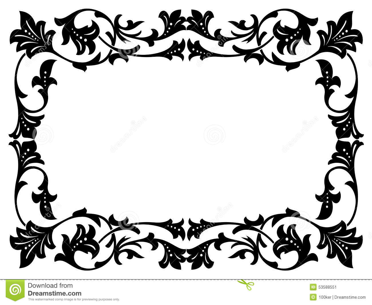 Calligraphy Penmanship Curly Baroque Frame Black Stock Vector - Image ...