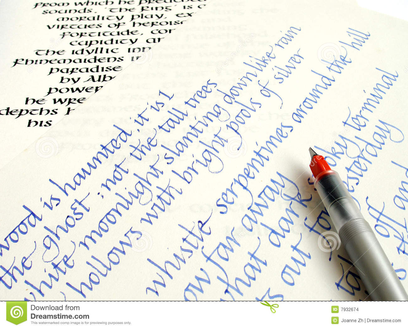 An Image Showing A Calligraphy Pen With Two Different Styles Of Hand Writing In The Background Calligraphic