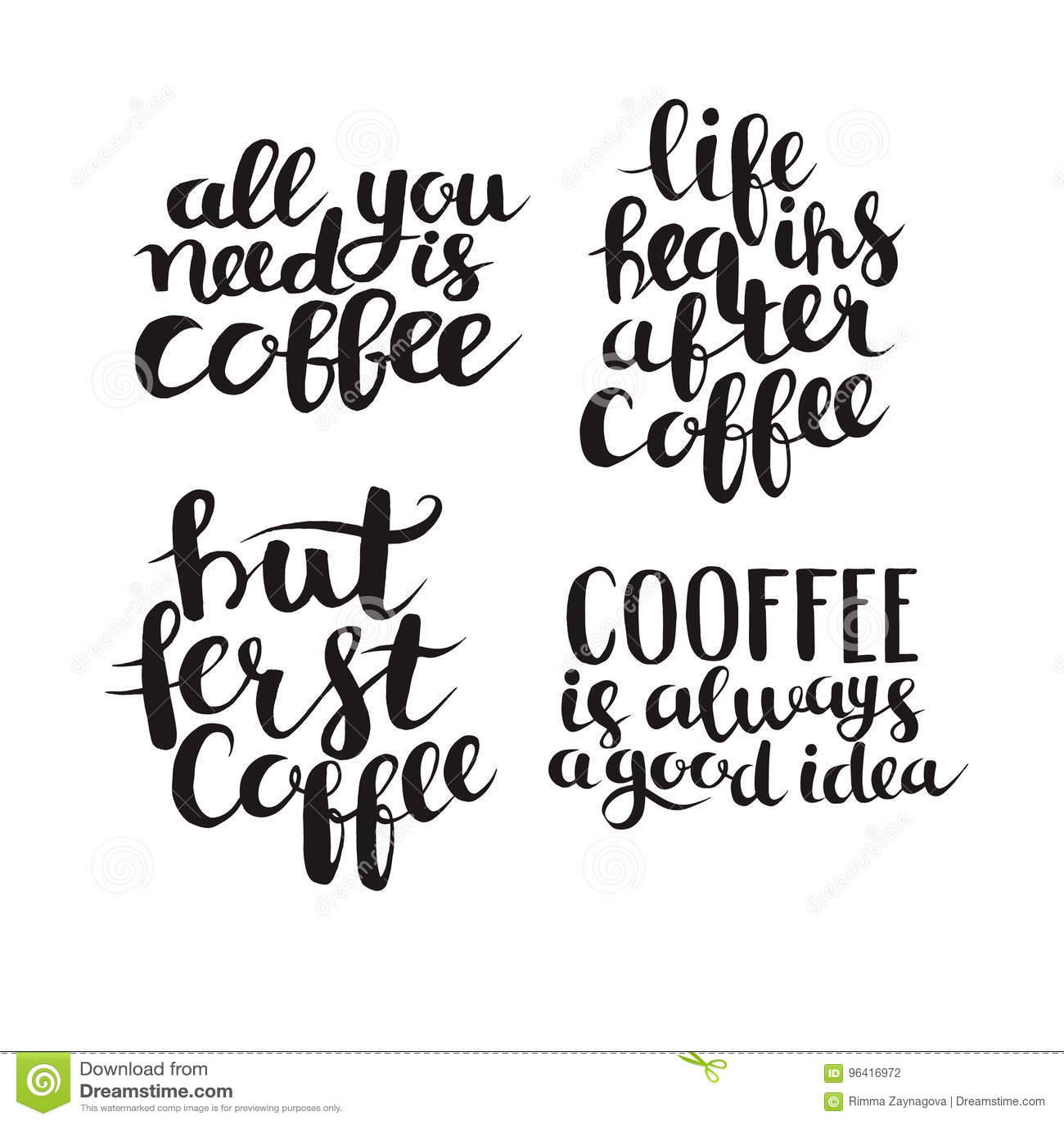 Calligraphy Quote Coffee Typography Vector Set Stock Vector