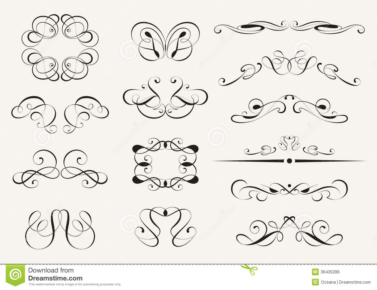 Calligraphy Set Stock Vector Image Of Decoration