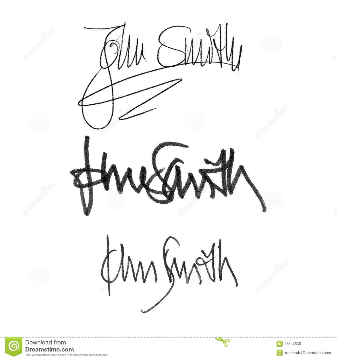 Download Calligraphy Signature John Smith Handwritten Set Of Different Styles And Pens Stock Illustration