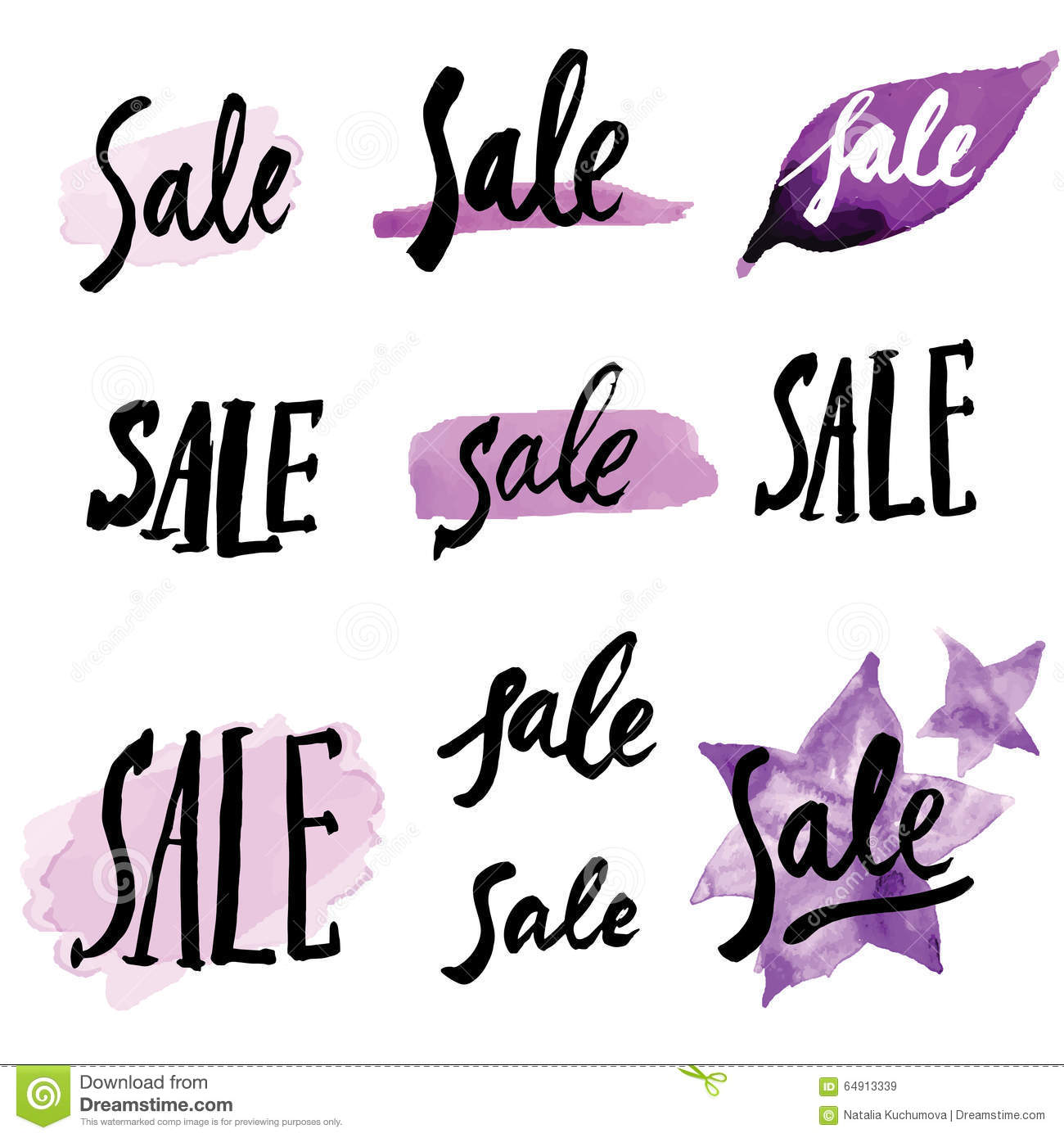 Calligraphy Signs Sale Stock Vector Image 64913339