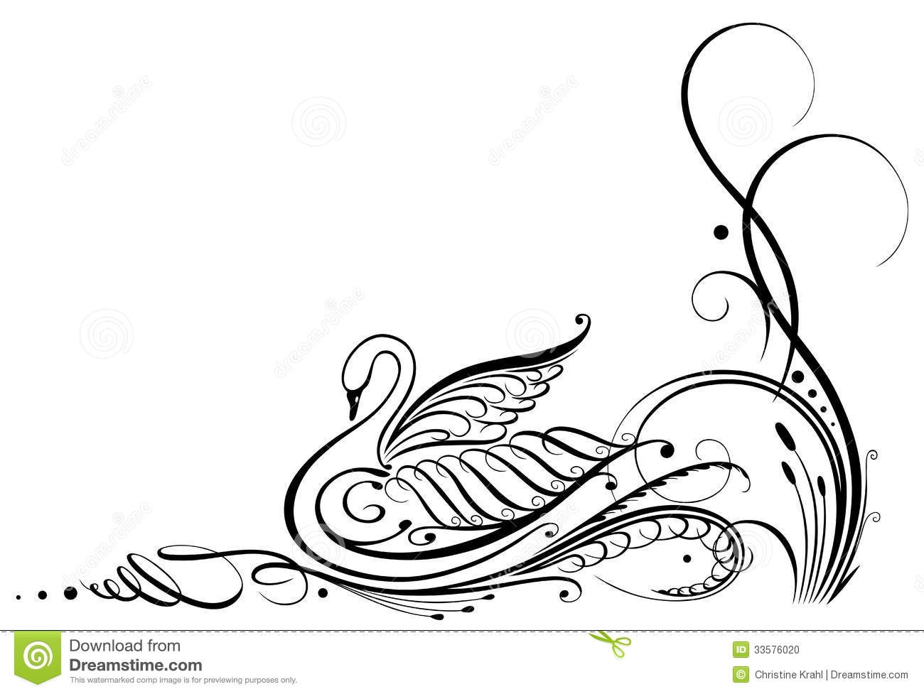 Calligraphy, Swan Stock Photo - Image: 33576020