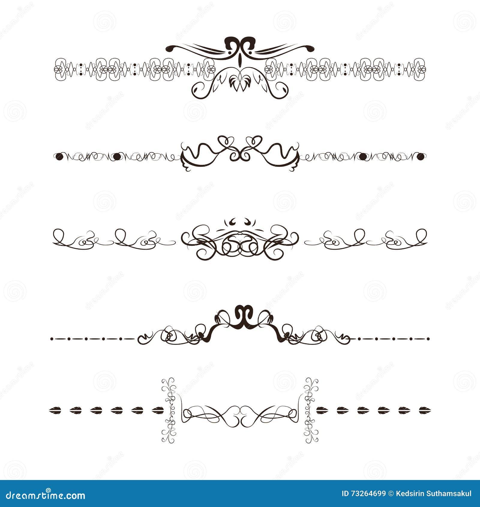 Calligraphy swirl line graphic designs vector set stock