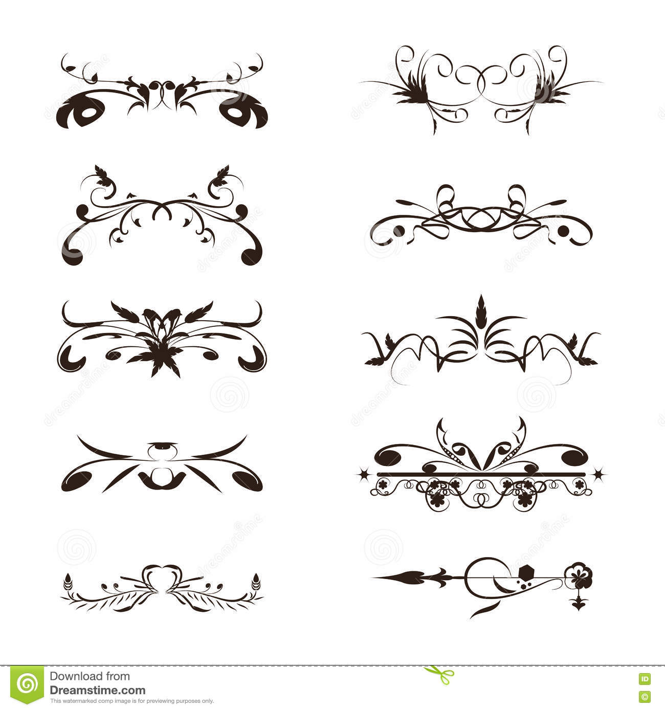 Set Calligraphic Line And Calligraphy Vector Vector