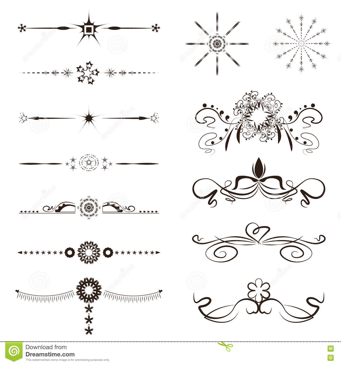 Set calligraphic line and calligraphy vector