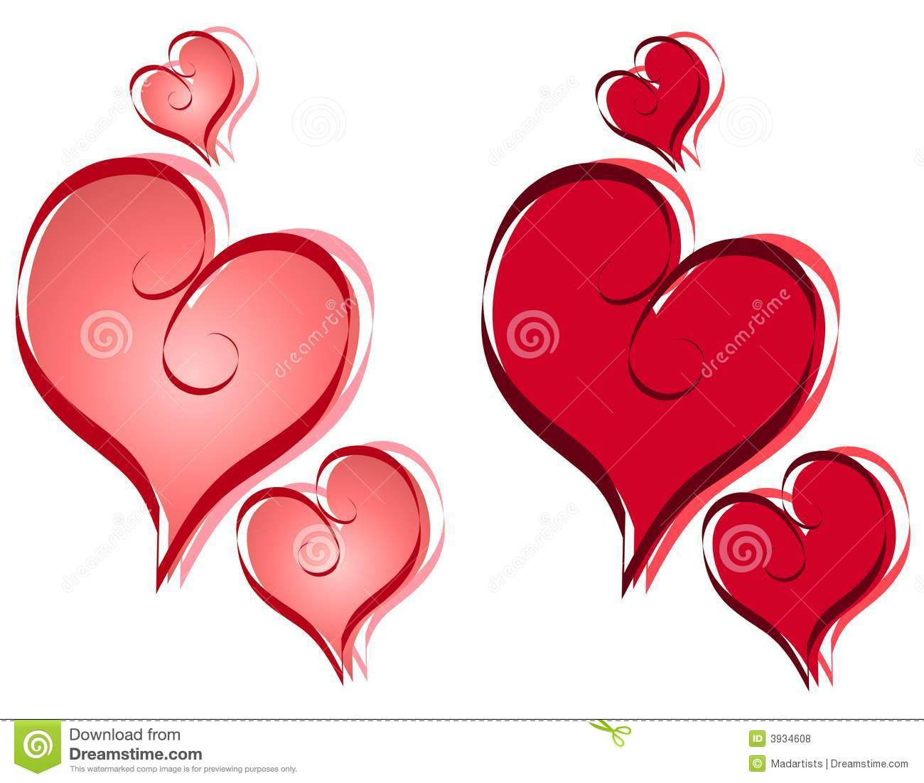 calligraphy valentine hearts clip art royalty free stock photos