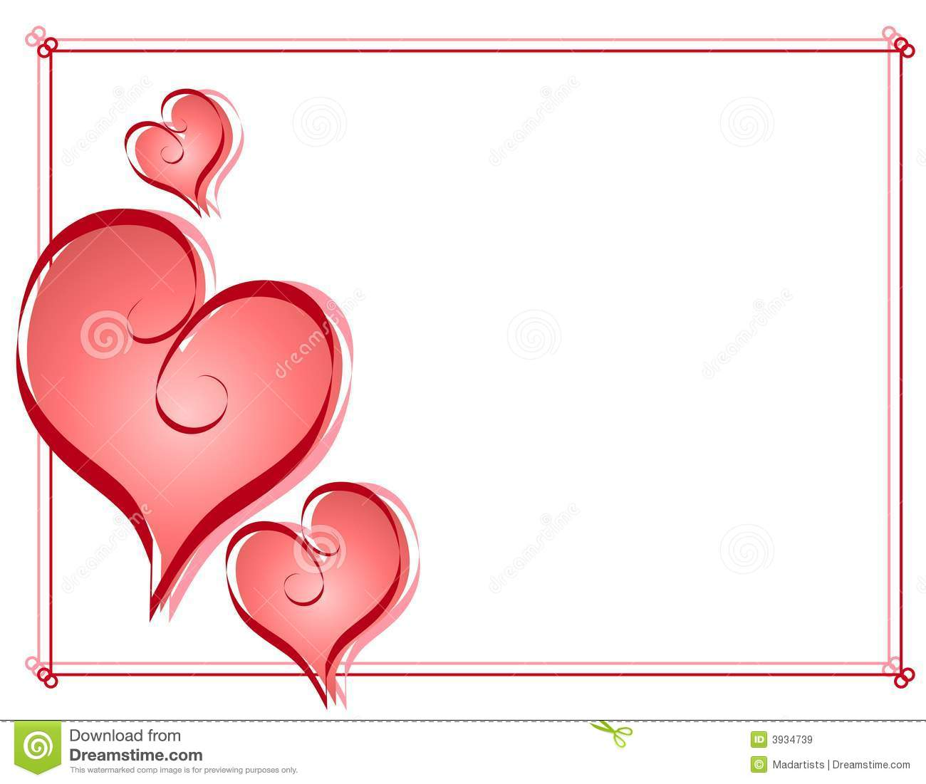Calligraphy Valentine Hearts Frame Border Royalty Free Cartoon