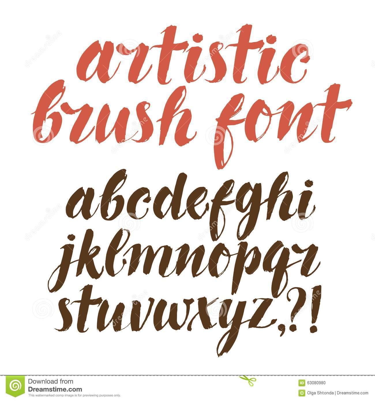 Calligraphy vector font stock image