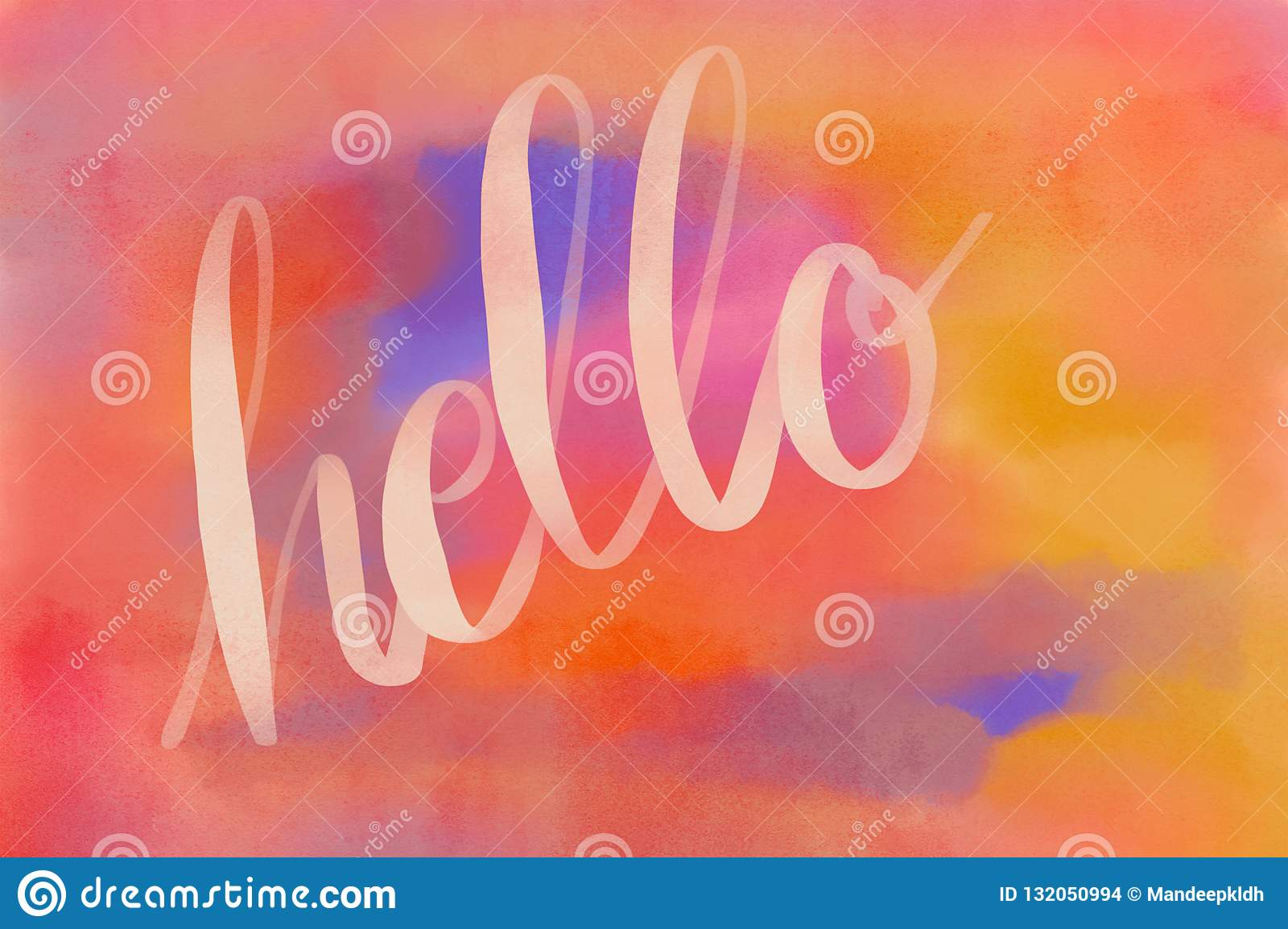 Calligraphy on watercolor theme background. Hand drawn Artwork.