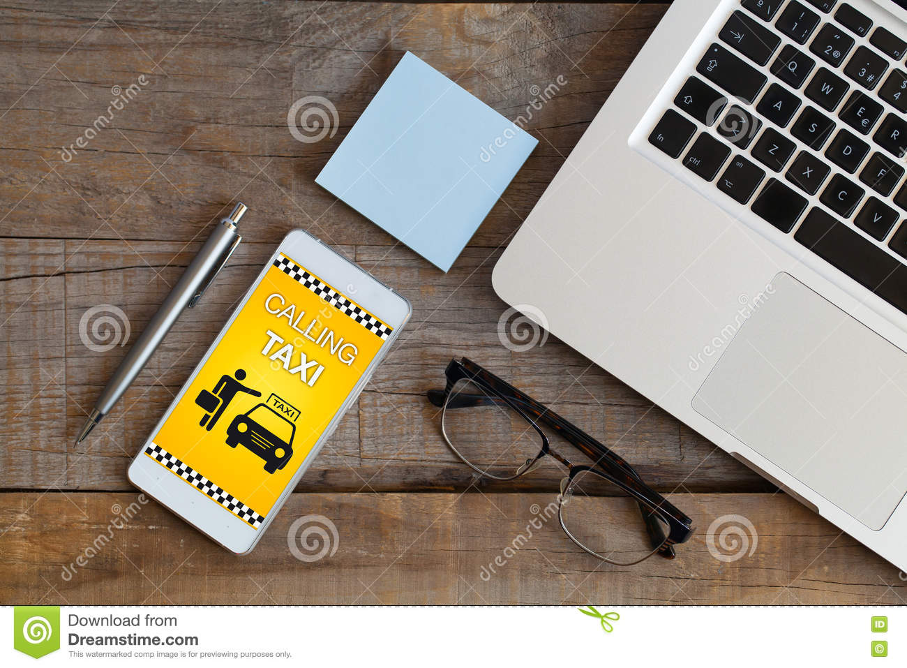 Toy Taxi Car With Mobile Phone. 3d Rendering Stock Photo ...