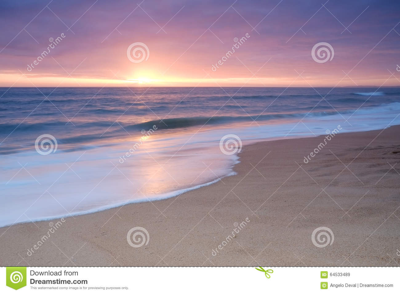 Calm Beach Waves During Sunset