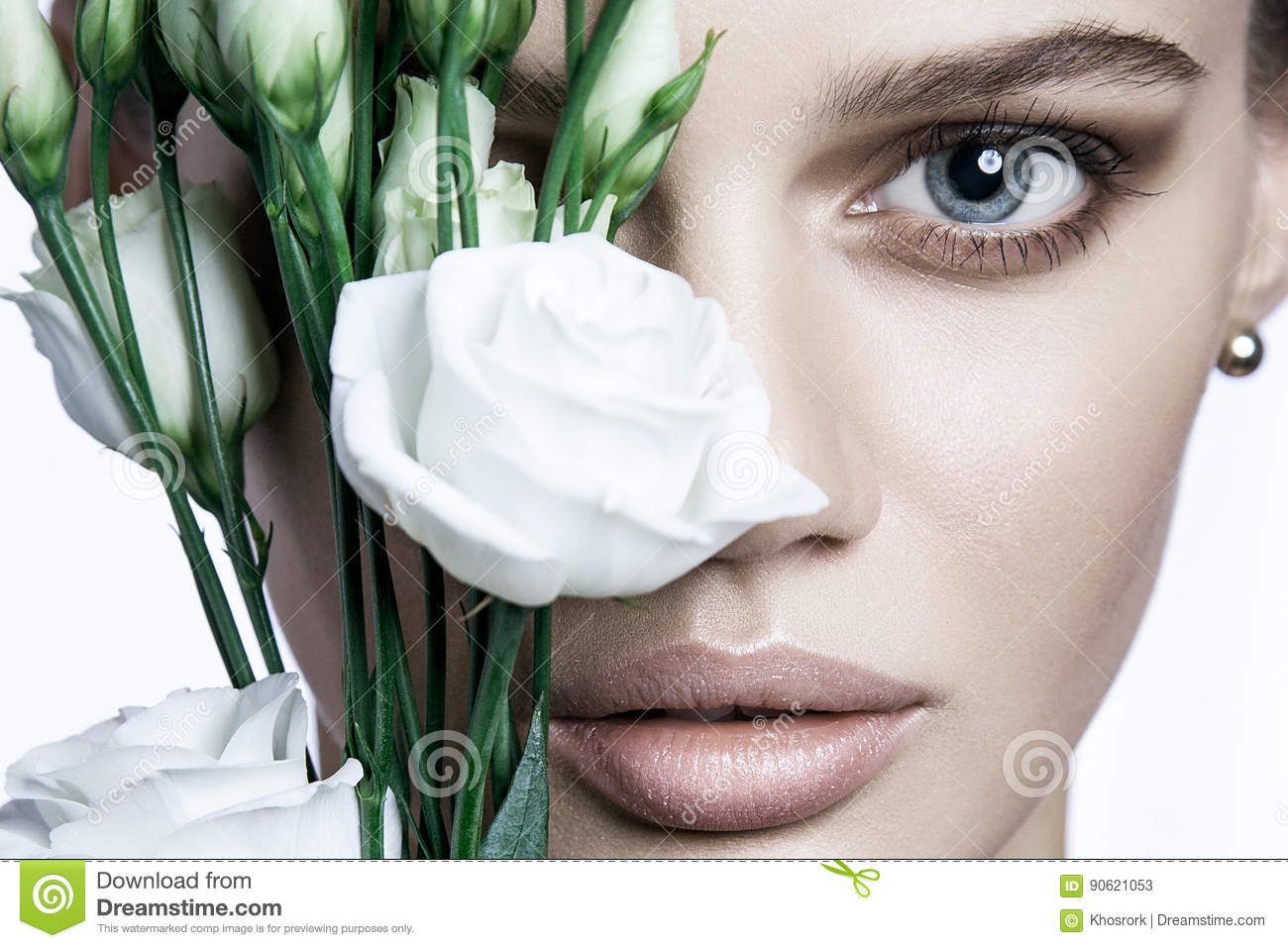 Calm Beauty Fashion Model Woman face. Portrait with white Rose flower.