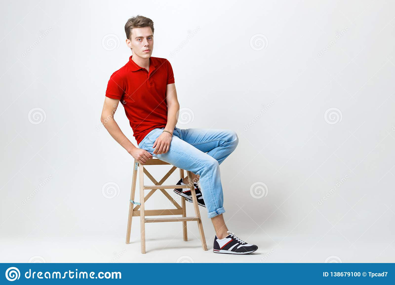 Groovy Calm Handsome Dark Haired Guy Wearing Red Shirt And Blue Ocoug Best Dining Table And Chair Ideas Images Ocougorg