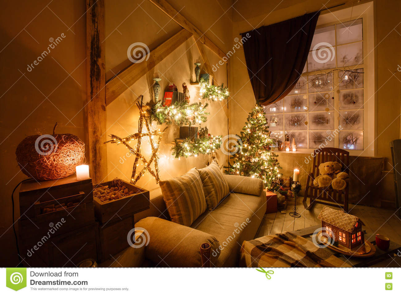 calm image of interior modern home living room decorated christmas tree and gifts sofa table covered with blanket