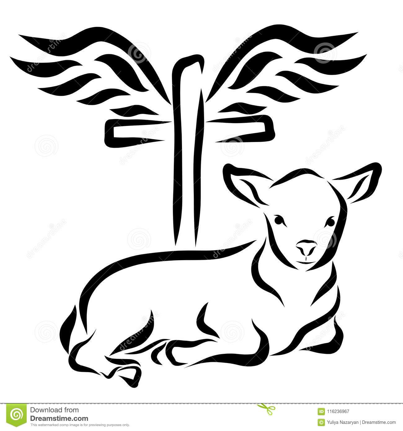 A Calm Lamb Lying In Front Of A Cross With Wings Stock Illustration