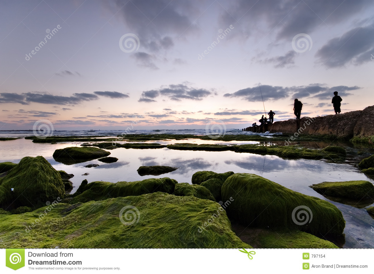 Calm Landscape With Fishermen Stock Photo - Image of ...