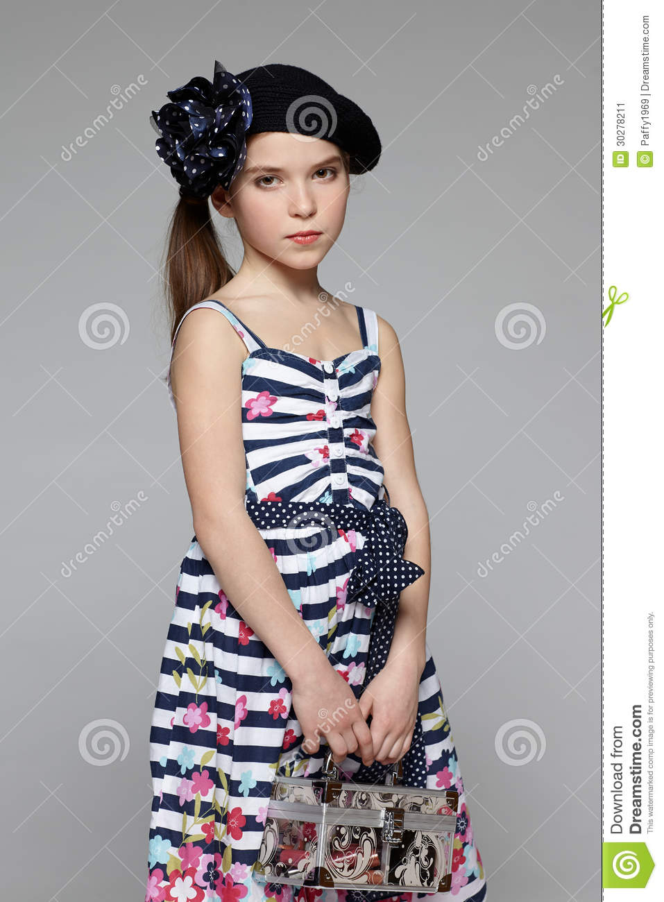 Little Girl In The Marine Dress Stock Photography 70525958