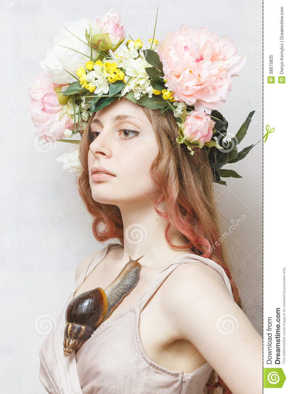 Calm Pretty Girl With Snail And Flower Crown Stock Photo 38875825