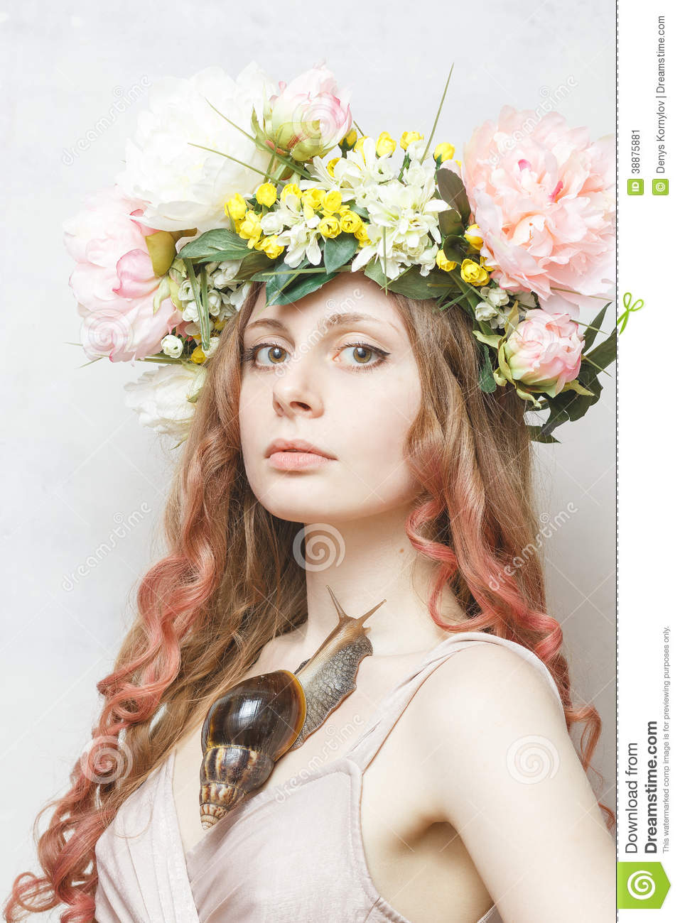 Calm Pretty Girl With Snail And Flower Crown Stock Image Image Of