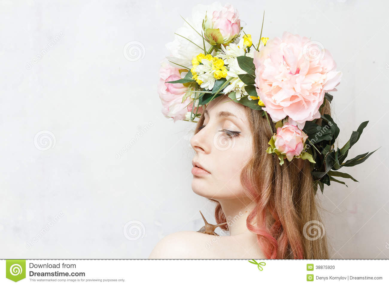 Calm Pretty Girl With Snail And Flower Crown Stock Photo Image Of