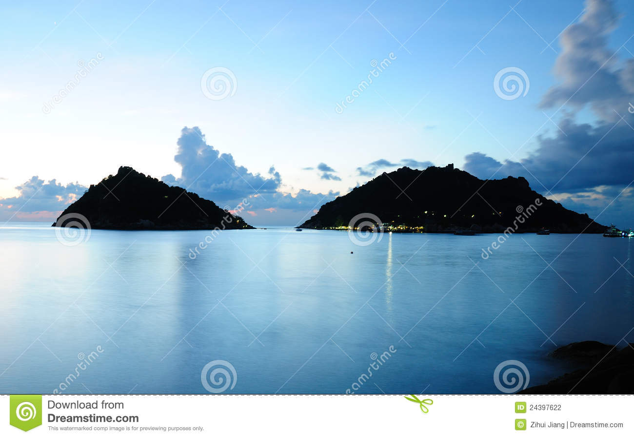 Tropical Island Beach Ambience Sound: Calm Sea And Island At Night Stock Photography