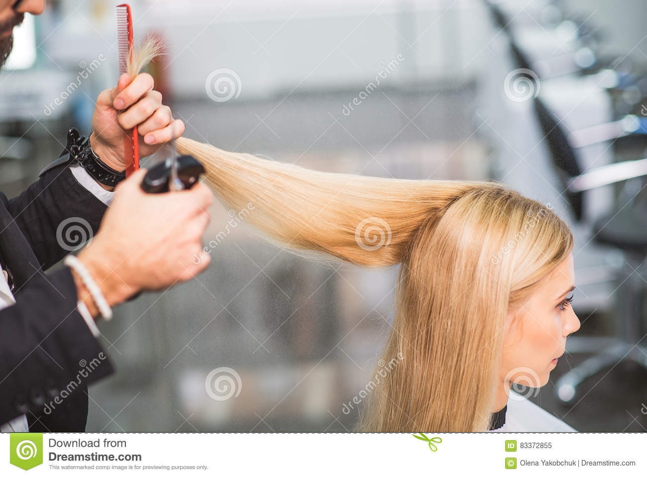Calm Woman Is Getting A Haircut Stock Image Image Of Barbershop