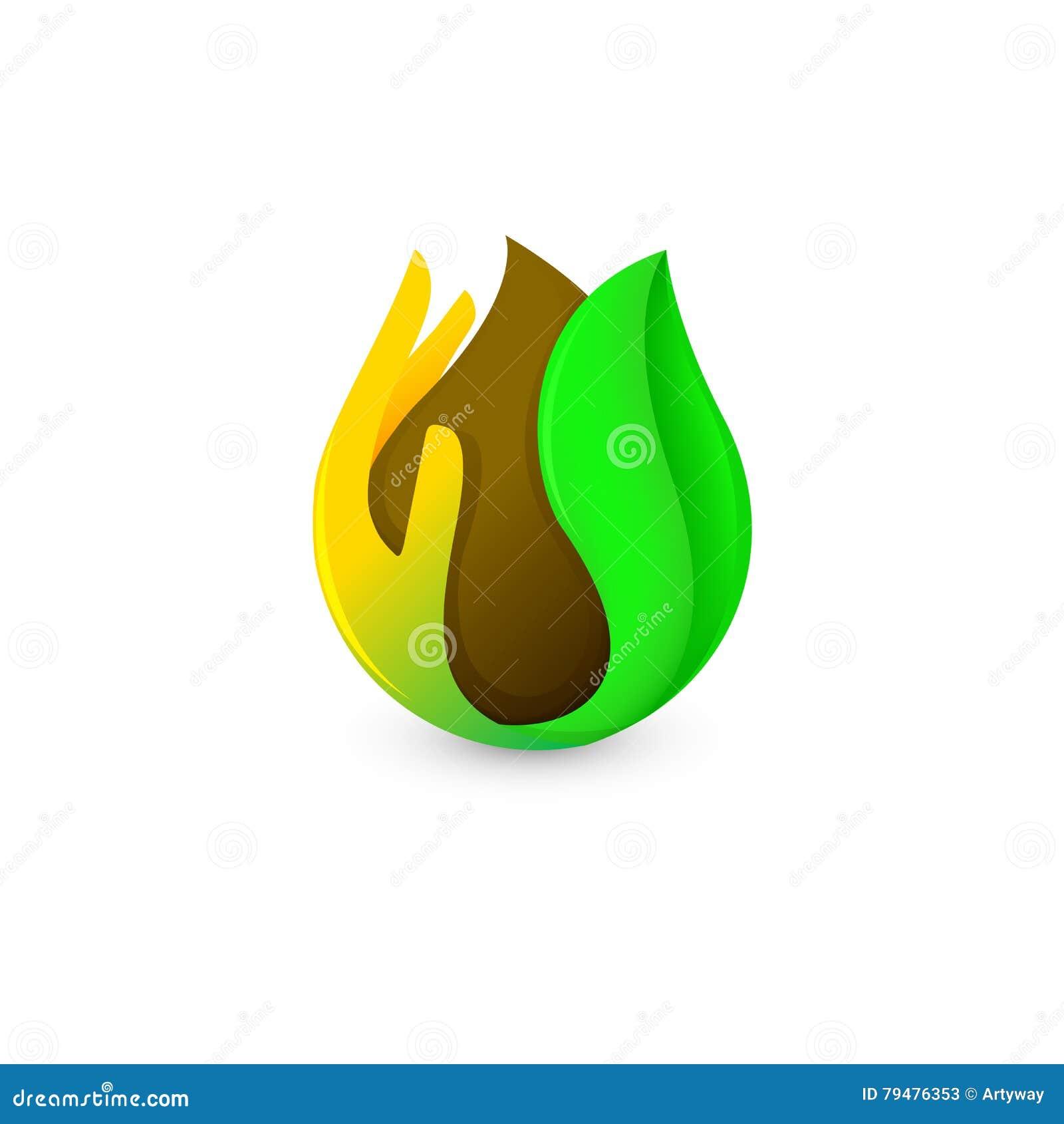 Calo marrone astratto isolato di colore in palma e nel logo verde della foglia Logotype del cioccolato e del caffè Icona dei prod