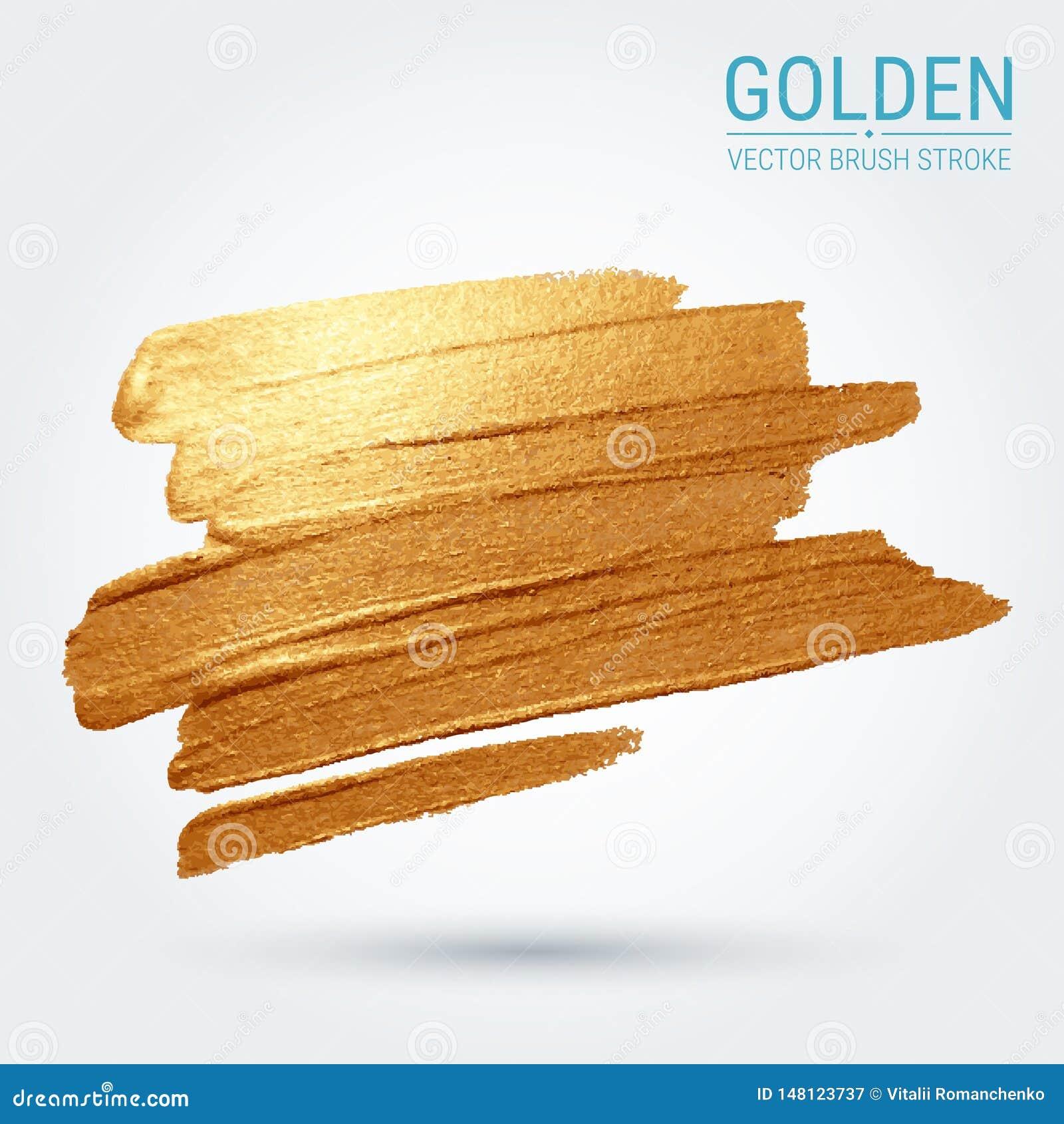 Calomnie avec une brosse artistique tra?age Une tache d or Texture grunge brillante