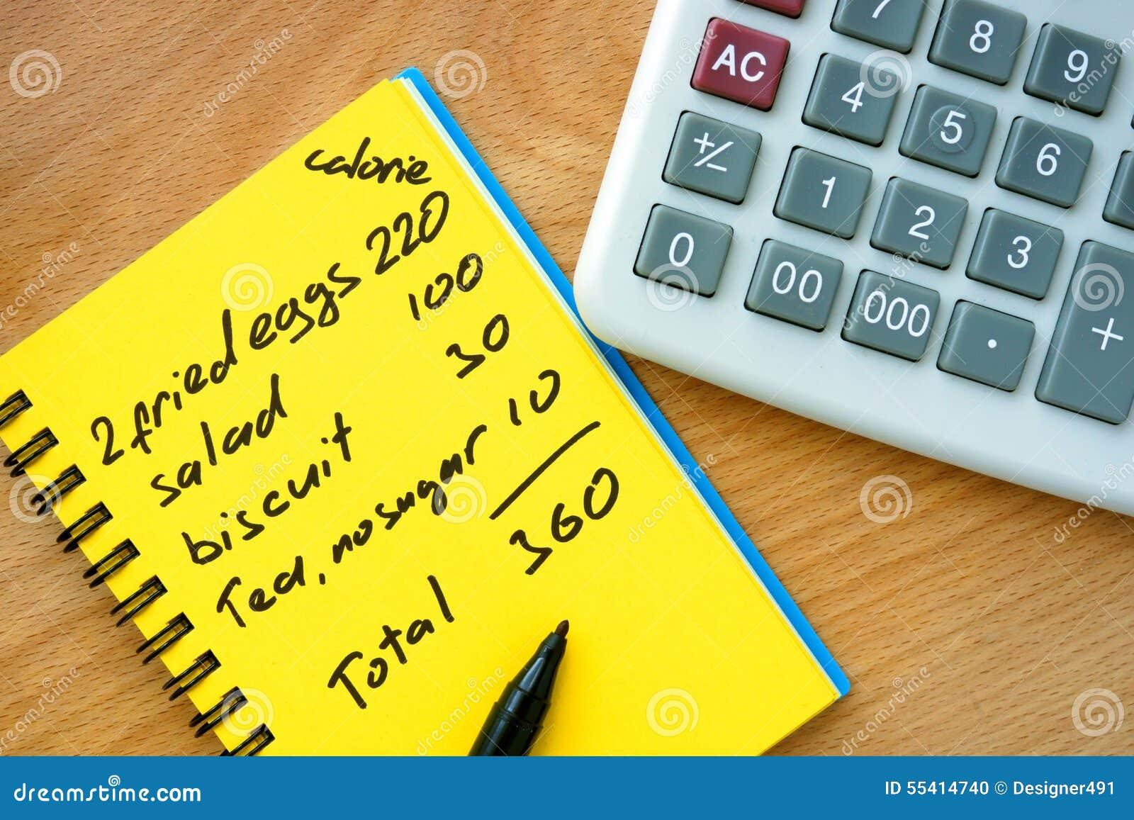 Calorie het tellen op een document met calculator