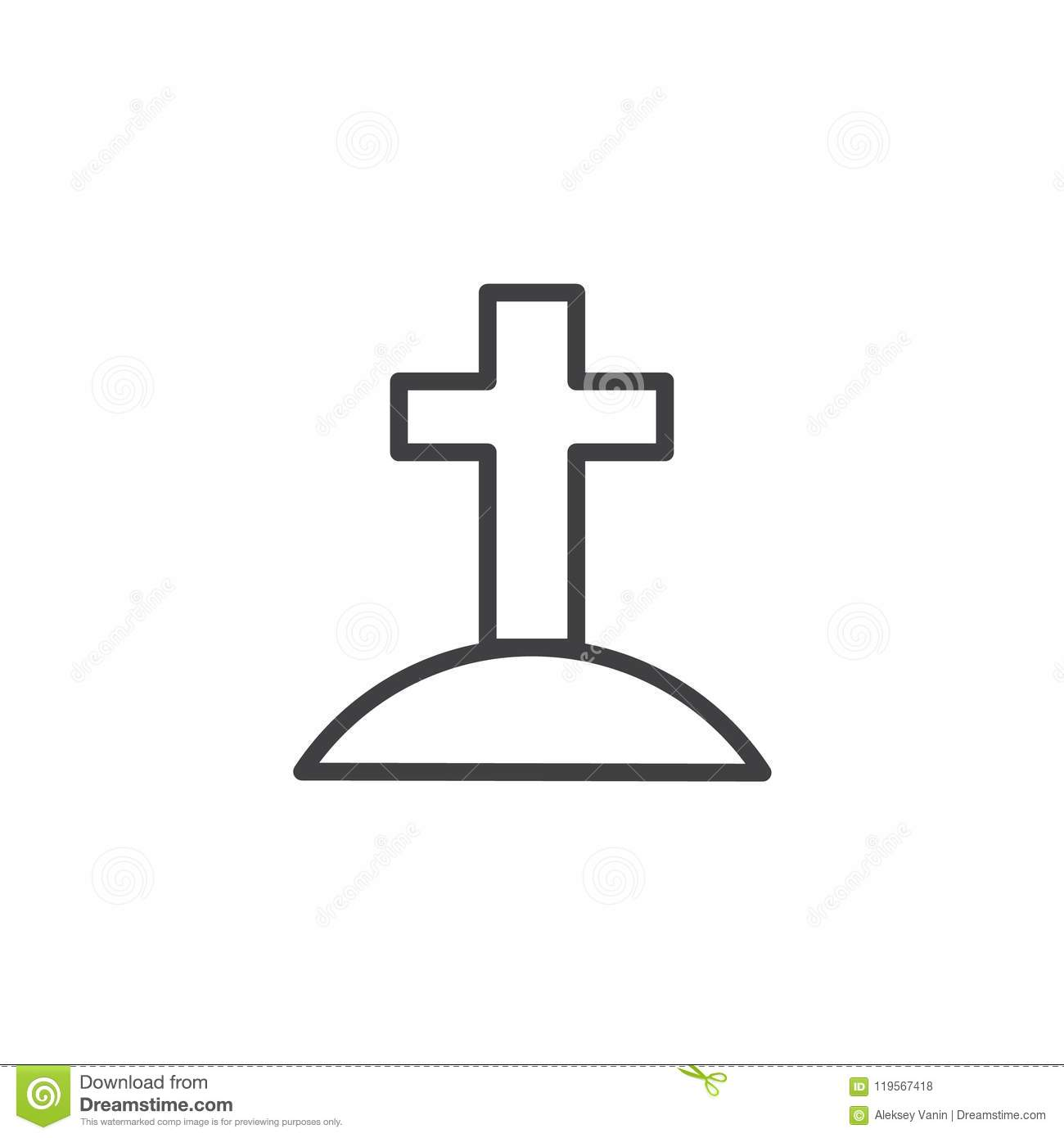 Calvary With Cross Outline Icon Stock Vector Illustration Of