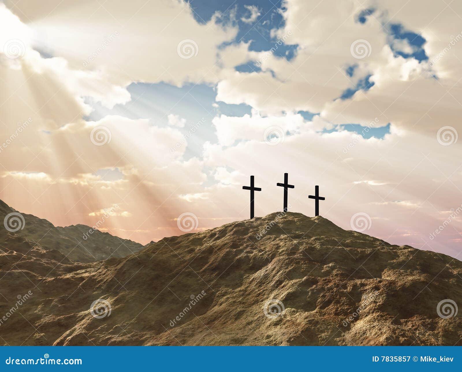 Calvary krzyża wzgórze trzy