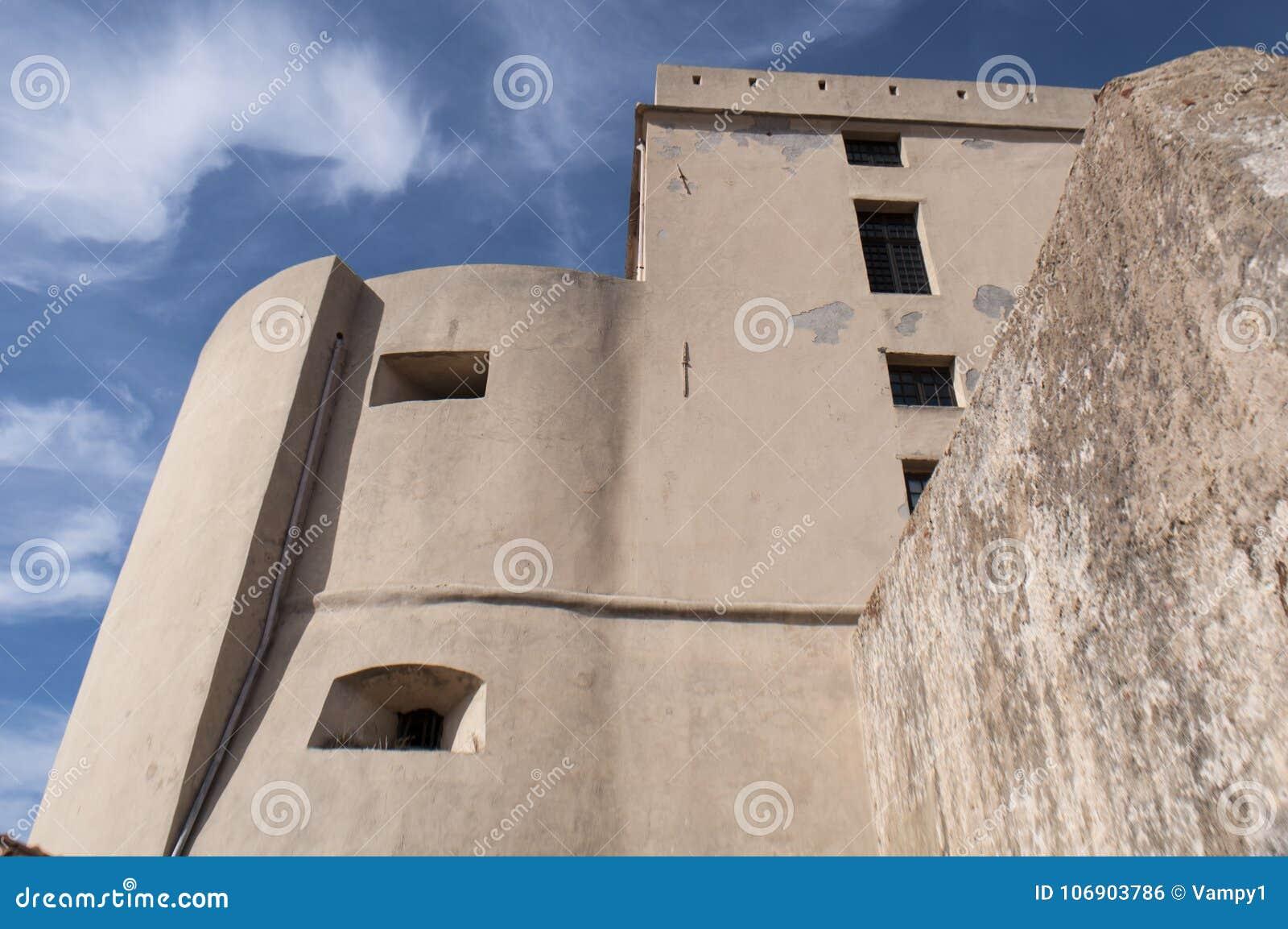 Calvi, cytadela, antyczne ściany, linia horyzontu, Corsica, Corse, Francja, Europa, islandi