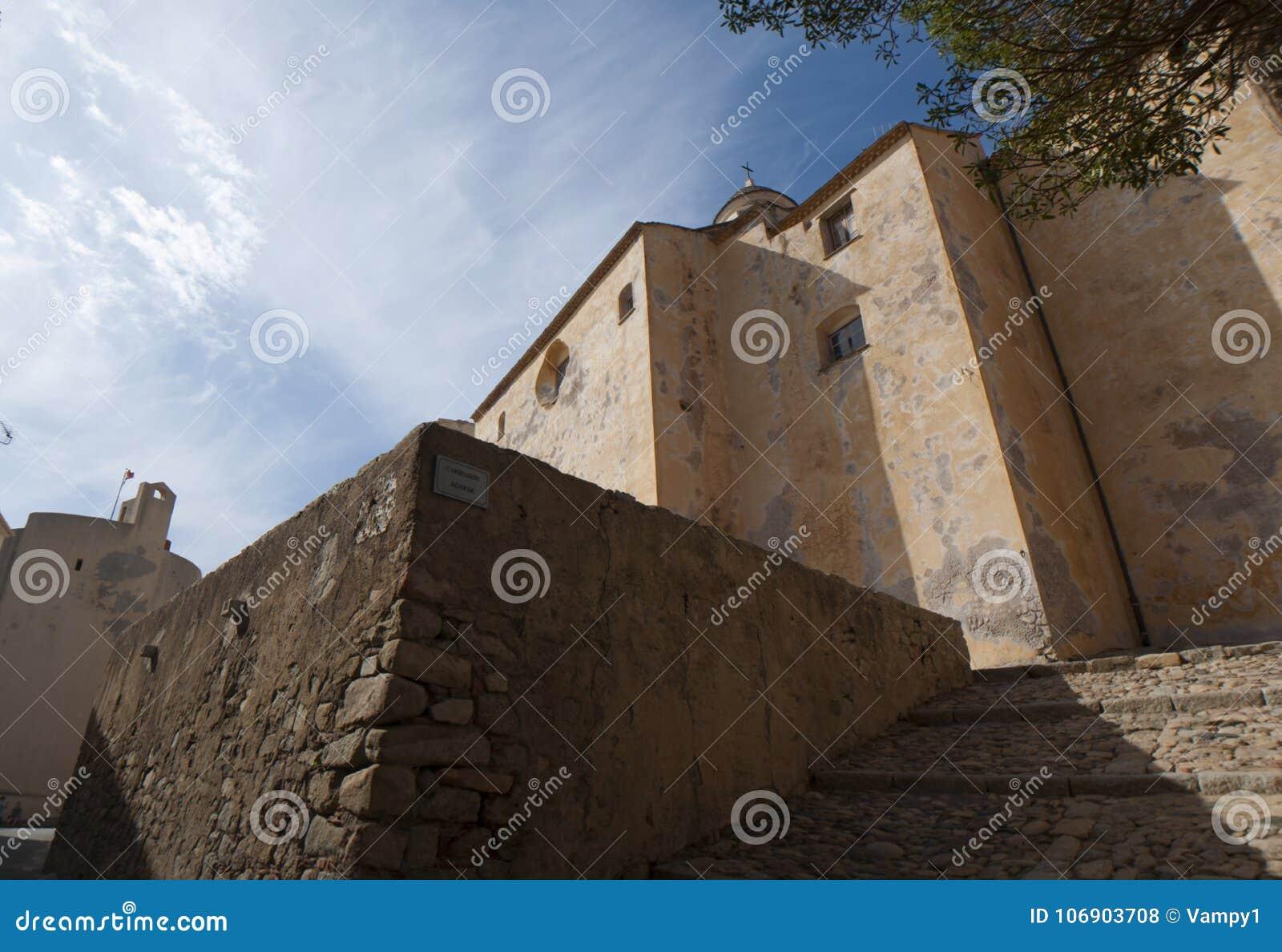 Calvi, cytadela, katedra, antyczne ściany, linia horyzontu, Corsica, Corse, Francja, Europa, wyspa