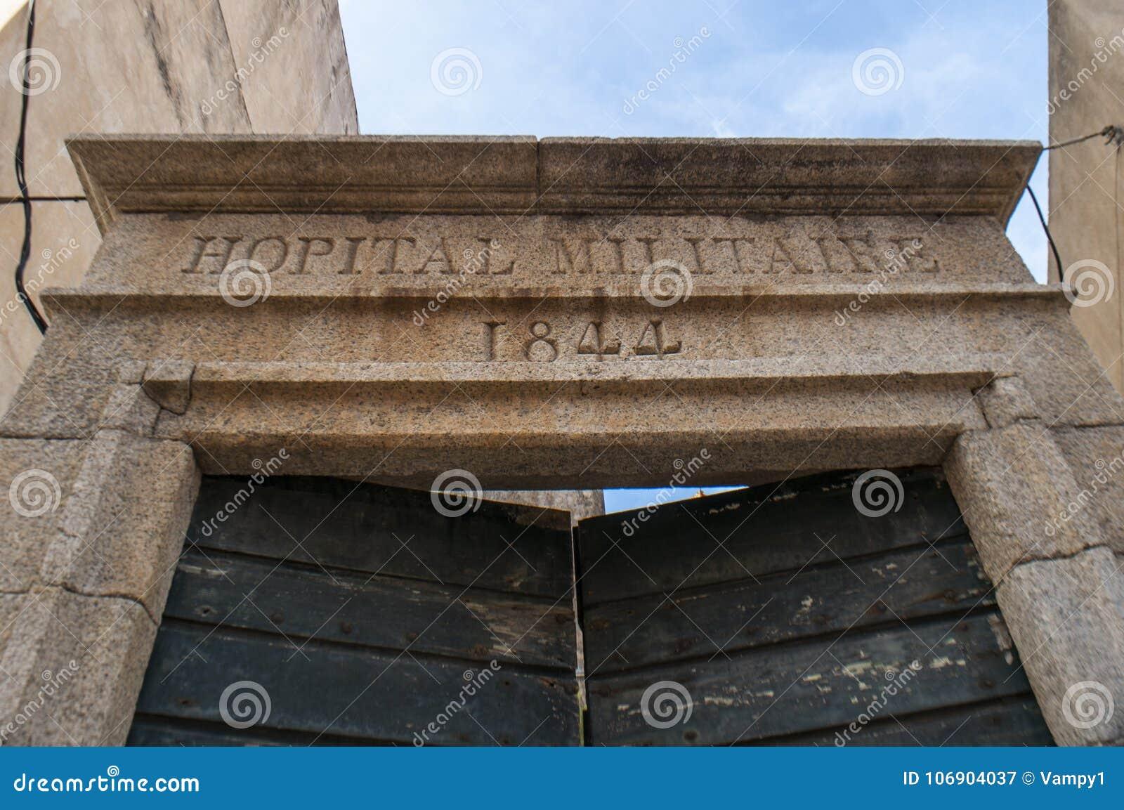 Calvi, cytadela, szpital, wojskowy, antyczne ściany, linia horyzontu, Corsica, Corse, Francja, Europa, islandi