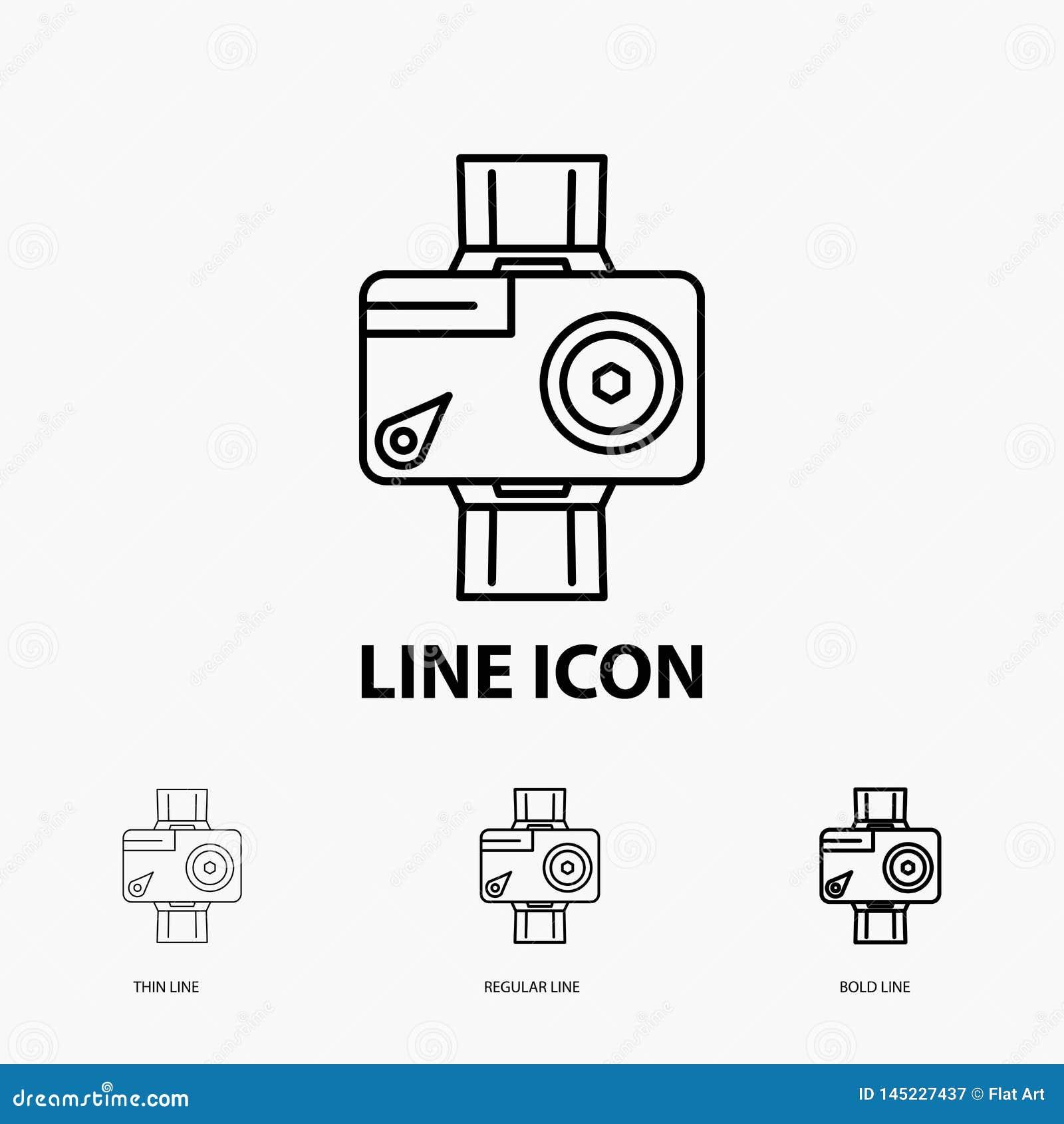Caméra, action, icône numérique, visuelle, de photo dans la ligne style mince, régulière et audacieuse Illustration de vecteur