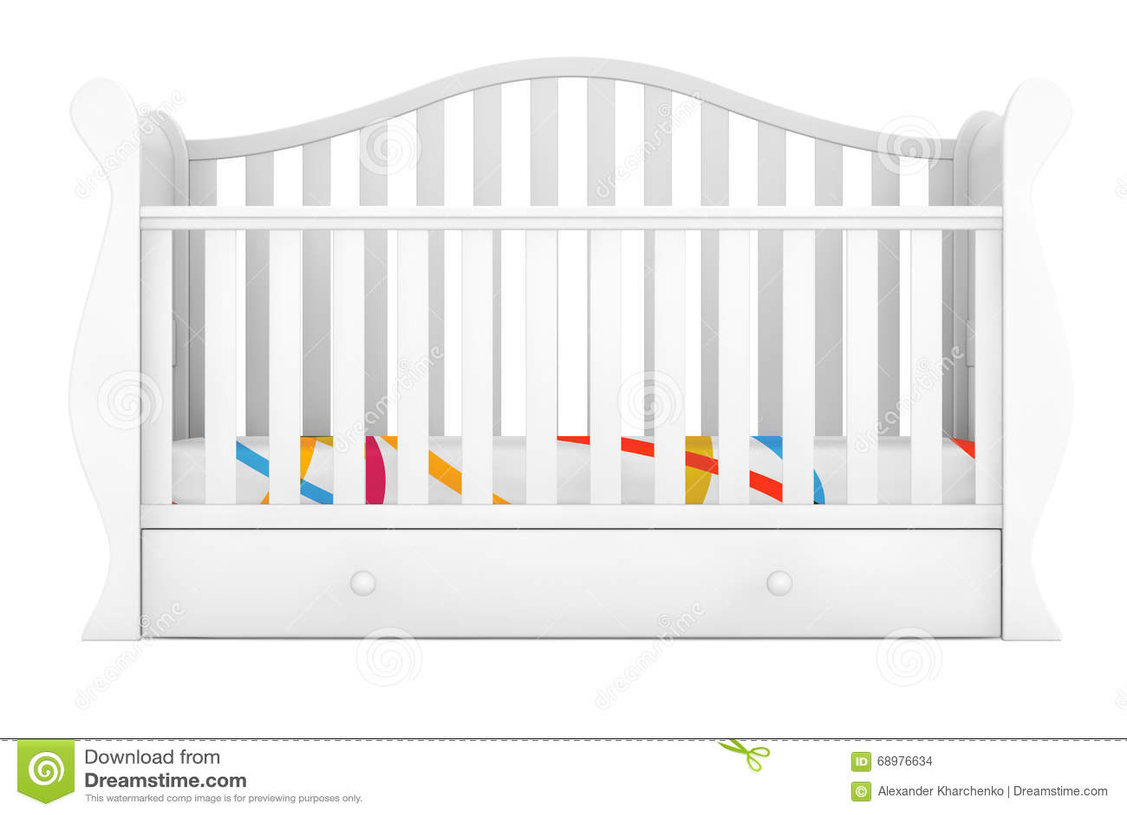 Cama de bebé blanca representación 3d
