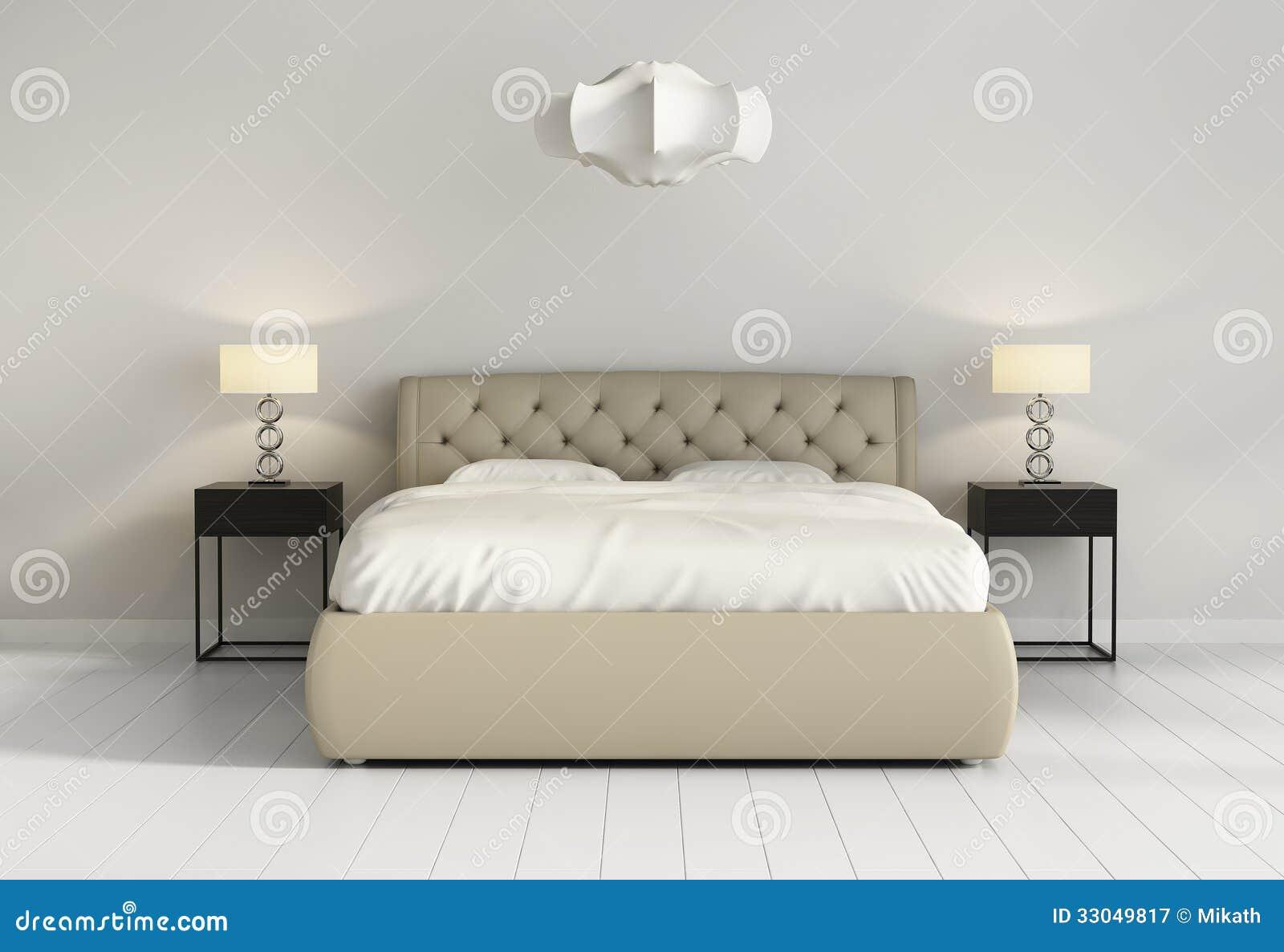 Cama de cuero copetuda elegante en frente elegante contemporáneo del dormitorio