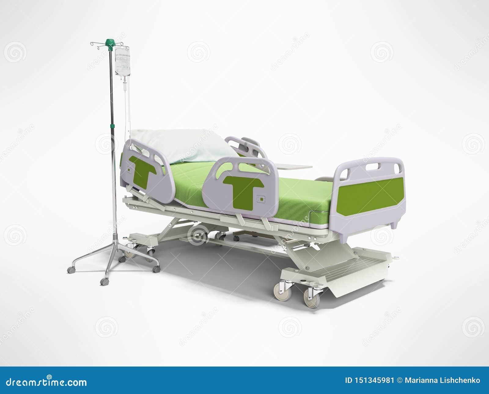 Cama de hospital do verde do conceito semi automática com controlo a distância e gotejamento no tripé 3d para render no fundo cin