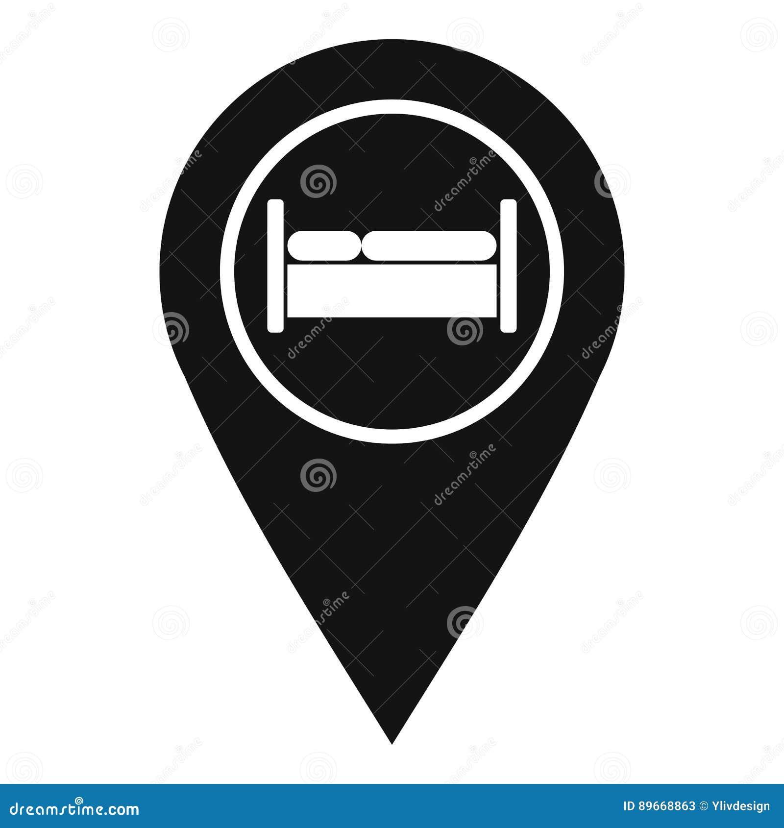 Cama, pensão, ícone do sinal do hotel, estilo simples