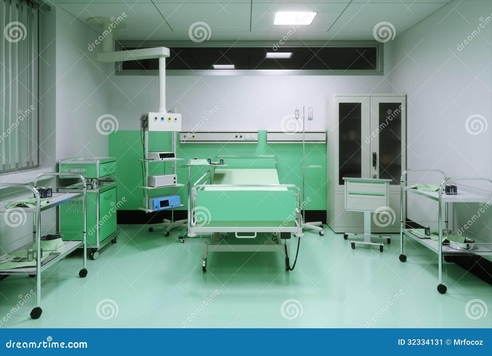 Cama vac a en un cuarto de hospital for Cuarto quirurgico