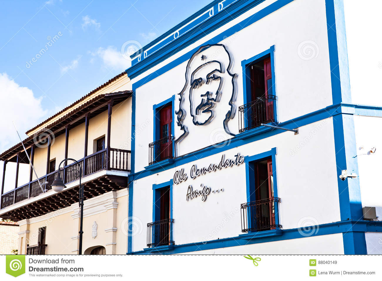 He Camaguey Postal Office on the right with the image of Che Guevara natal house of Ignacio Agramonte.