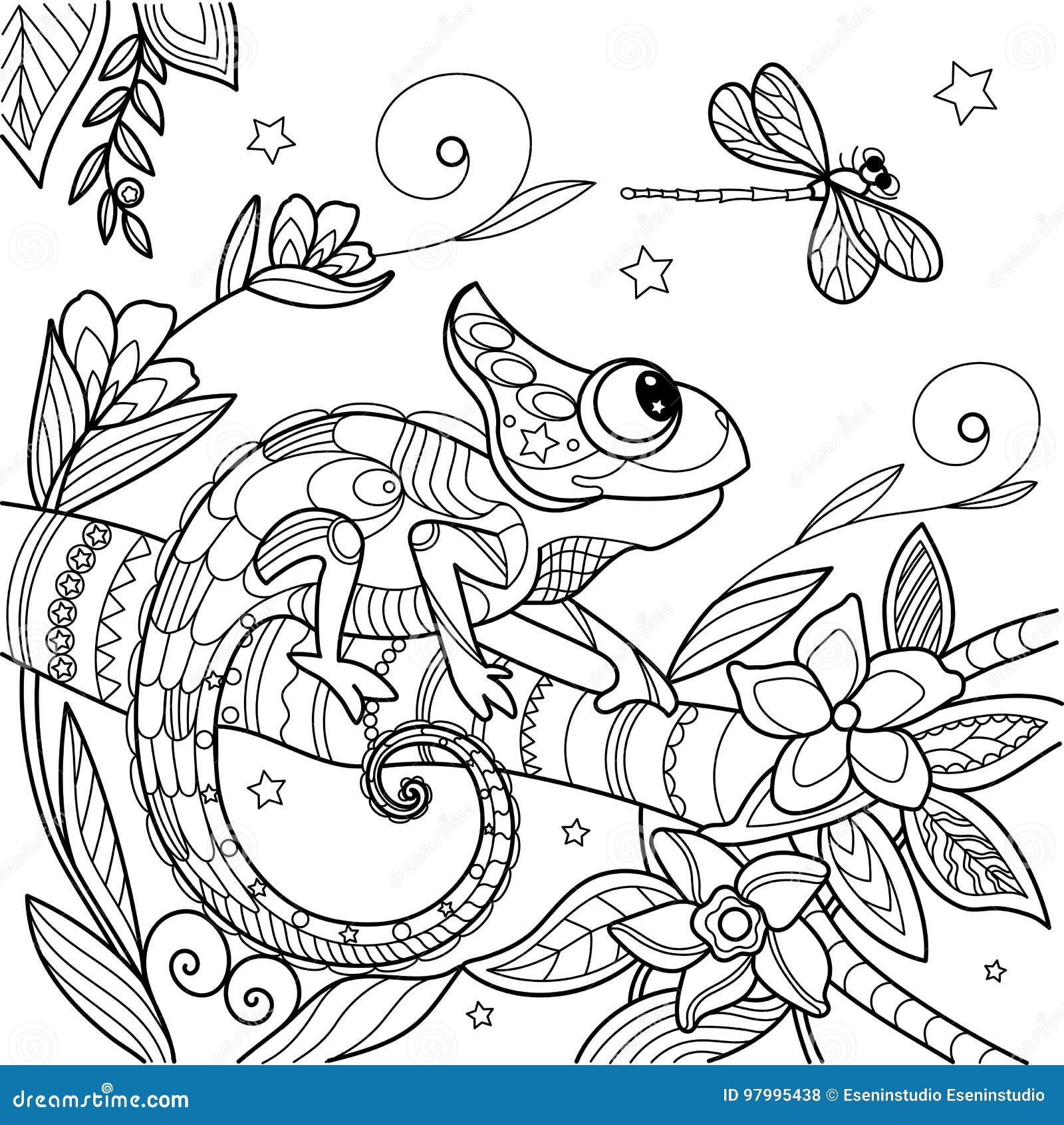 Camaleao Antistress Desenho De Escova Chines Da Tinta Do Lagarto
