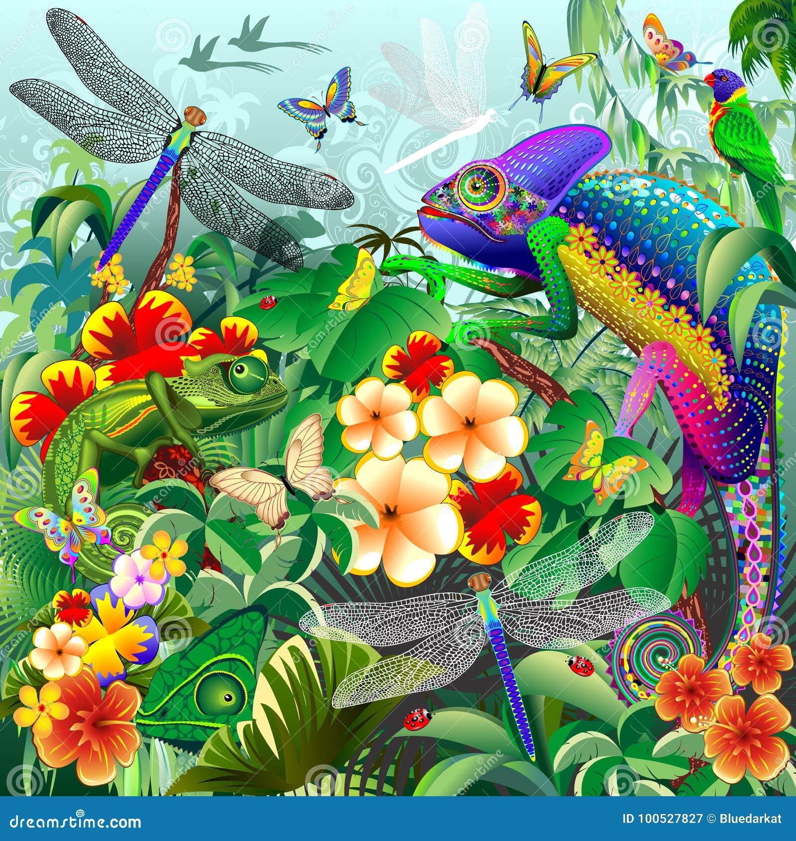 Camaleões que caçam, libélulas, borboletas, joaninhas